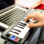 Students use a midi keyboard to create their own sounds